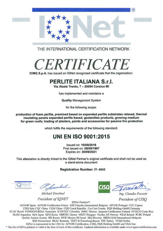 Certificato qualità IQNET ISO 9001 2015