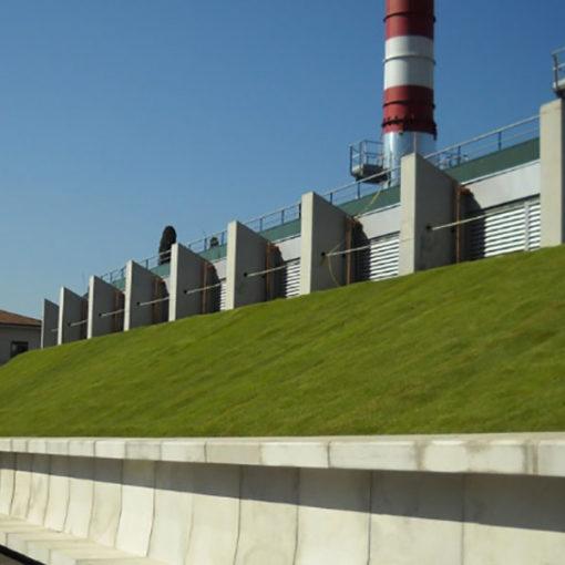 copertura a verde intensivo leggero a prato inclinato - sistema Perliroof - Ospedale di Careggi (FI)