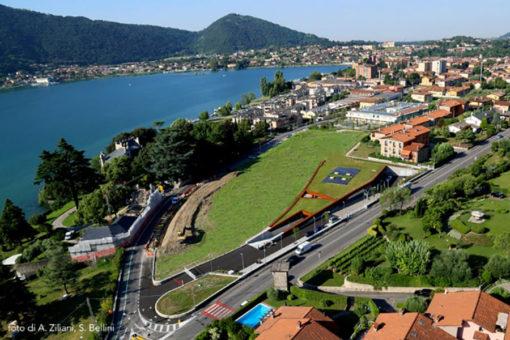 tetto giardino pensile intensivo leggero Perliroof a prato con integrazione sistema fotovoltaico - lago d'Iseo - Brescia