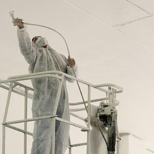 protezione passiva al fuoco di strutture in calcestruzzo - posa di vernice intumescente